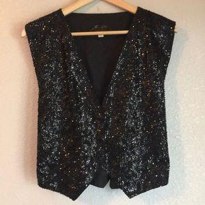 Vintage Black Sequin Vest